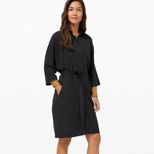 Lululemon tie waist black shirt dress size 12 NWT